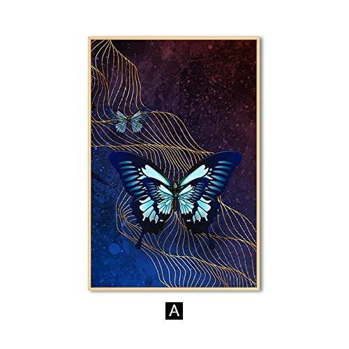 zgmtj Abstrakte Wandkunst Schmetterling Leinwand Kunst Malerei Nordic Poster und Drucke Dekoration Wandbilder für Wohnzimmer Dekor
