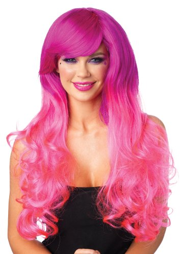 wo-Tone long Curly Perücke, Einheitsgröße, rosa (Two Tone Perücken)