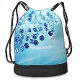 dewdferf Gymsack Jewelry Blue Diamonds Print Drawstring Bags - Simple Gym Shoulder Bags