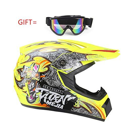 WenBike Motocross-Helme, Offroad Motorradhelm mit Schutzbrille D.O.T Certified Multicolor Motorrad ATV Racing Helm Set Anzug für Erwachsene/Kinder/Jugendliche,4,S