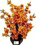 #5: Sofix Wood Artificial Orchid Flowers Peach Blossom Flower Pot for Home / Hotel / Office Decor (Golden, 40cm) - 14 Sticks