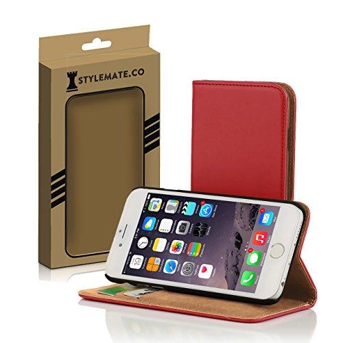 Apple iPhone 6 Plus/6s-Custodia a portafoglio, in pelle morbida con apertura a libro, con supporto, a libro, colore: Nero, Rosso, Bianco, colore: Marrone, rosso, iPhone 6