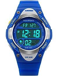Panegy - Reloj Digital Deportivo de Cuarzo para Niños y Estudiantes-Color Azul
