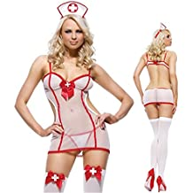 Luxurysmart Sheer Nurse Uniform Costume Nightie Lingerie Cosplay Set