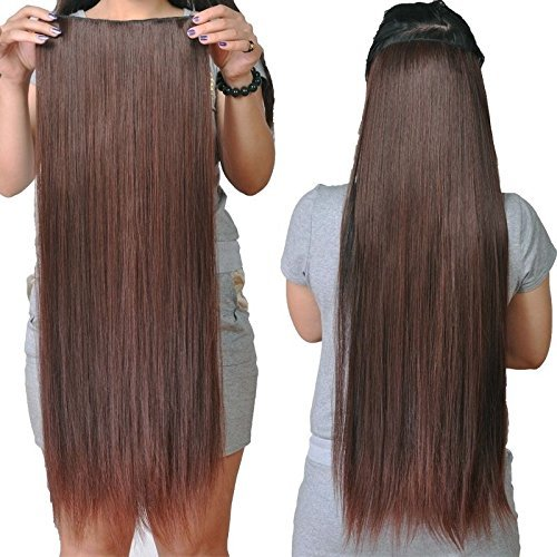"Artifice 5 Clips Straight Hair Extension High Temperature Synthetic Fiber 26"" 150g Maroon DarK Brown"