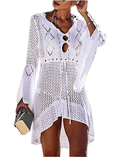 CULASIGN Damen Strandkleid Bikini Cover Up Beach Bikini Crochet Stricken Swimsuit Sommerkleid Cover Ups Strandponcho Sommer Bademode Strand Badeanzug (Weiß) - Beach Bikini Cover