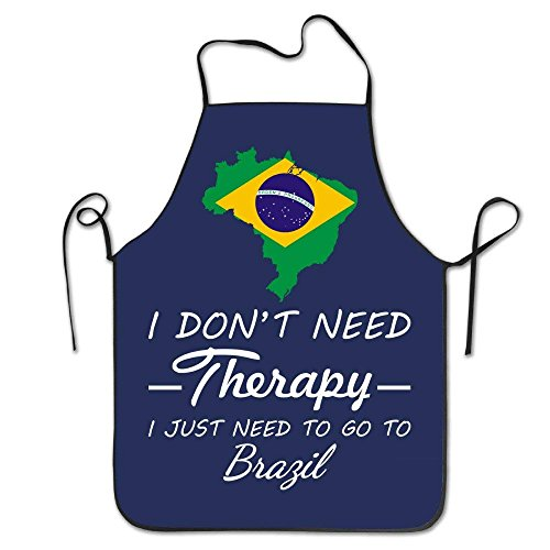 I Don't Need Therapy - Just Go to Brazil Aprons Chef Personalized Kitchen Aprons Blue Apron Blue Tomato Knife