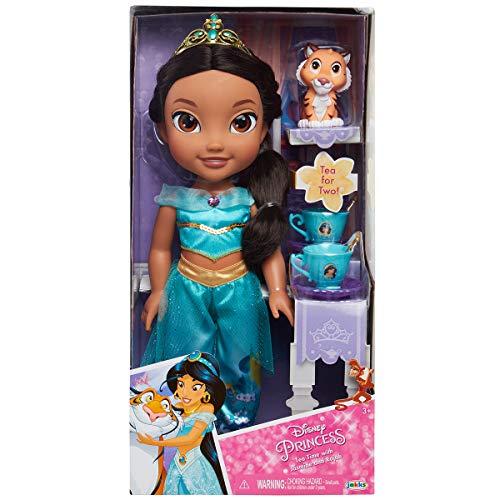 Jakks Pacific Disney Princesa Jasmine 35 cm y Rajah con Set de Té para Dos Tea Time