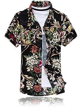 MOGU Camicia a Maniche Corte da Uomo Fiori Fiore Hawaiian Funky Casual da Spiaggia per Le Vacanze