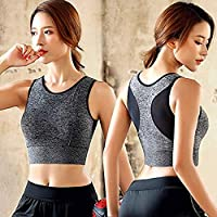 Cocosmart Women Athletic Running Sports Bra Gym Fitness Seamless Padded Vest Tank Tops Grey M…