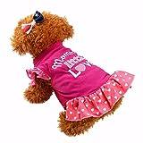 YWLINK Sommer Süß Haustier Hund Katzen Polka Dot Kleid Kleider RüSchen Kurzarm Brief Drucken Prinzessin Rock(Heiß Rosa,S)
