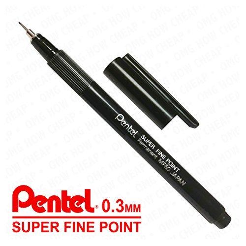 Pentel Super Fine Point Permanent Marker MF50–0,3mm Line–schwarz–Single Pen (Super-single Schwarz)