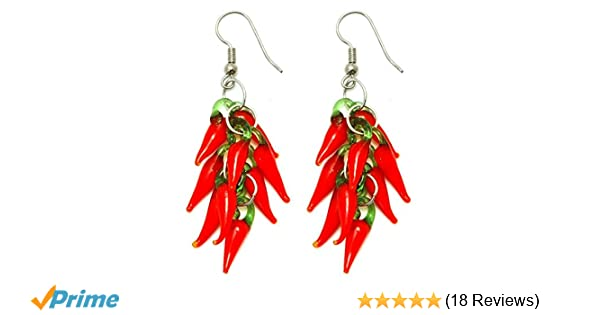 Drop Earring Hot Red Chilli Cluster Made With Glass by JOE COOL 9Dk69PzK