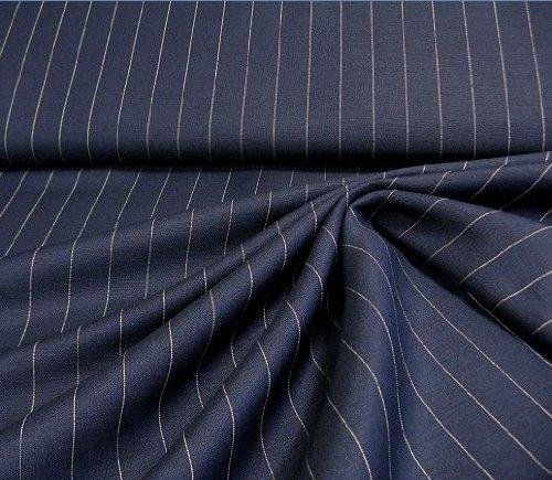 leichter, fester Leinenstoff mit nadelstreifen in marine, beige, geeignet für Hosen und (Kostüm Einfach Selbstgemacht)