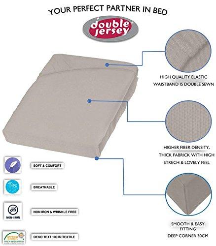 Double Jersey - Spannbettlaken 100% Baumwolle Jersey-Stretch bettlaken, Ultra Weich und Bügelfrei mit bis zu 30cm Stehghöhe, 160x200x30 Silber Grau - 3