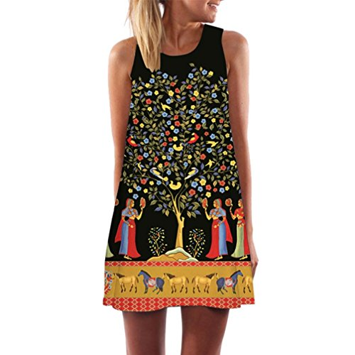 intage Boho Ärmelloses Sommerstrand Gedruckt Kurzes Minikleid Blumenkleid T-shirt Tops Kleider-Faschingskostüme (Schwarz-A, S) (60er Jahre Hippie Stil)