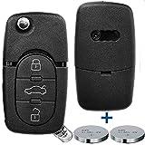 Klapp Schlüssel Gehäuse Funkschlüssel Fernbedienung Autoschlüssel 3 Tasten + 2x CR16 Batterie für AUDI