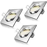 Brandson - LED Deckenspot eckig warmweiß schwenkbar 3er Set | LED Einbauleuchte | LED Einbauspot / LED Deckenstrahler | Slim Aluminium Druckgussrahmen (Edelstahl Optik) | Abstrahlwinkel: 120° | 230V | 4,0W | 320 Lumen | Energieeffizienzklasse A+