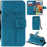 Ooboom® Samsung Galaxy S5 Case Cat Tree Pattern PU Leather Flip Cover Wallet Stand with Card/Cash Slots Packet Wrist Strap Magnetic Clasp for Samsung Galaxy S5 - Blue