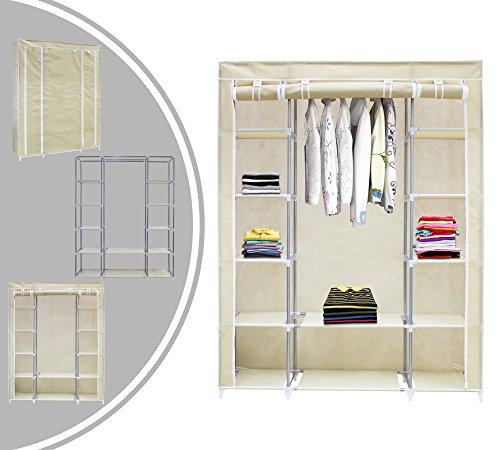 Leogreen - armadio, credenza, 3 porte, 172 x 134 x 43 cm, beige, materiale: connettori per tubi in plastica