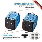 Voyage Adaptateur avec 2 USB MILOOL Adapteur Chargeur USB Convertisseur pour US UK UA EU Environ 150 Pays Universel Multi- Prise de Courant Chargeur avec Fusible de Sécurité Dual USB(bleu) …