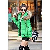 GUXIU Womens Mäntel und Jacken Winter hell mit Kapuze Gesteppte Jacke mit Parka,Pelzkragen,grün,S