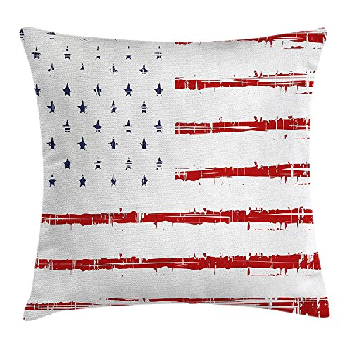 ZMYGH American Throw Pillow Cushion Cover, Vector Grunge Texture Flag of  United States of America Illustration Print, Decorative Square Accent  Pillow