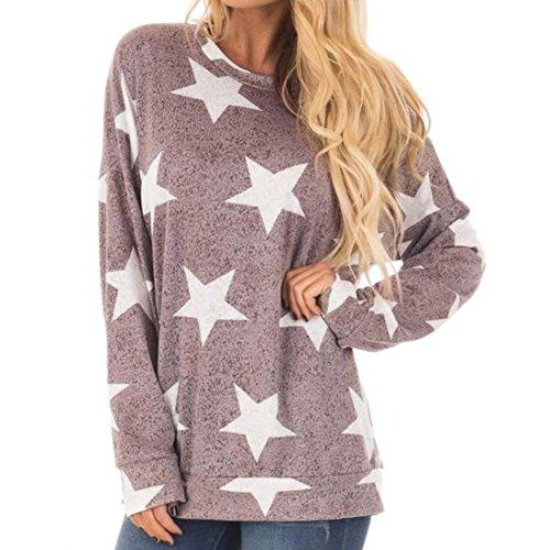 Longra Damen Mode Star Print Langarm O Neck Sweatshirt Pullover Tops Bluse Frauen Langarm T-Shirt Casual Oberseiten Shirt Tunika (purple, M) (Mode Hose Star Rock)