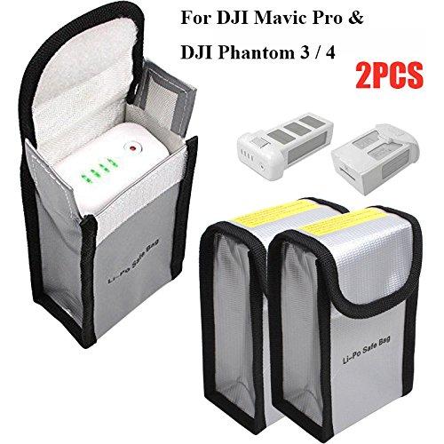 Suncentech Batterie Tasche Feuerfest Aufbewahren Beutel für DJI Mavic Pro DJI Phantom 3 Phantom 4, LiPo Batterie Sack Schutz tasche für RC Batterien (150 x 90 x 55 mm, 2er-Pack)