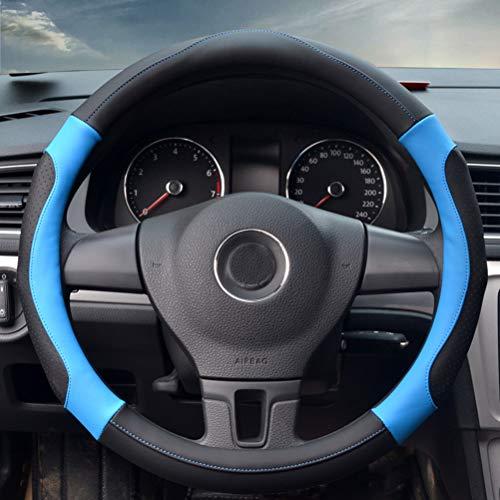 Weichfaser-Leder-Borten auf dem Lenkrad des Autos mit Nadel-Auto-Lenkrad-Abdeckung blau