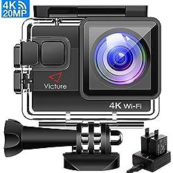 """Victure Caméra Sport 4K WiFi 20MP Caméra de Ski Appareil Photo Caméscope Étanche 40M avec Angle Réglable Caméra Action à Écran 2"""", 2 Batteries 1 Chargeur et Fonction Stabilisation pour Sports Voyage"""