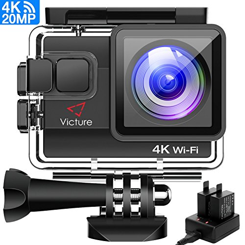 Victure 4K Action Cam Wi-Fi 20MP Ultra HD Impermeabile 40M Immersione Sott\'acqua Camera 170° Grandangolare 2.0 Pollici due 1050mAh Batterie/Caricabatteria/Kit Accessori per Ciclismo Nuoto