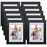 Giftgarden Cornici per Foto 9x13cm con Passepartout Set da Decorazione Murale Cornice 10x15 Senza Passepartout Set di 10, Nera