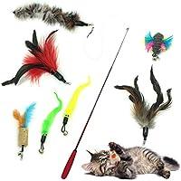 Katzenspielzeug Interaktives Spielzeug, PietyPet Katze Spielzeug Interaktive Feder Teaser Stab Spielzeug Set mit 7 Nachfüllfedern Catcher für Katzen Kitten, 8 Stück