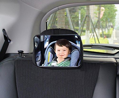 Rücksitzspiegel für Babys, Universal Autositz, Rückspiegel Baby Auto, Ideal als Ergänzung zu Reboard Kindersitzen und Babyschalen, Babyblume, Eckig