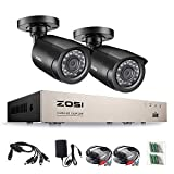 ZOSI 720p CCTV Système de Surveillance, Full 4CH DVR Vidéo Enregistreur, 2PCS HD 1280TVL Caméra de Surveillance, 20m Vision Nocturne Kit Caméras sans Disque Dur fourni