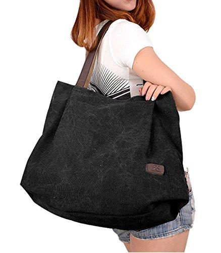 PB-SOAR Damen XXL Vintage Canvas Shopper Schultertasche Handtasche Beuteltasche Freizeittasche (Schwarz) Schwarz
