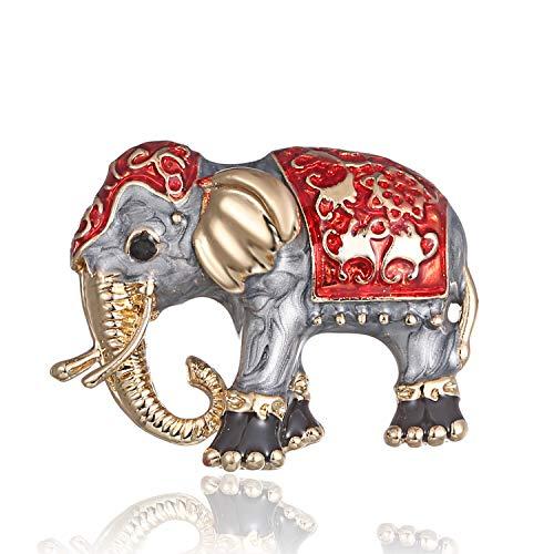 (AILUOR Damen Emaille-Elefant Brosche, Gold-Legierung Bunte Tasche Tier Ehrennadel Anzug Corsage Accessoires Schmuck rot Einstellbar)
