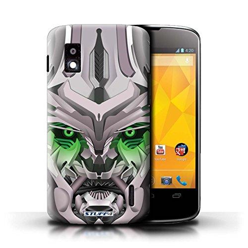 Kobalt® Imprimé Etui / Coque pour LG Nexus 4/E960 / Bumble-Bot Bleu conception / Série Robots Mega-Bot Vert