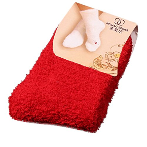 Home Frauen Mädchen Weichen Bett Boden Socken Flauschigen Warmen Winter Reine Farbe Strumpf Von BakeLIN (Rot) (Mädchen-socken Reine)