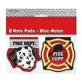 Unique Party - 49660 - Paquet de 8 Mini Bloc-Notes pour Pochettes - Cadeau Anniversaire Camion de Pompiers