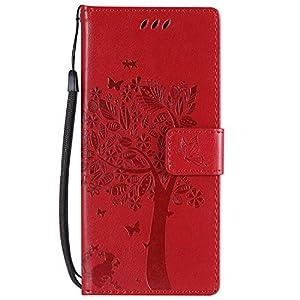 DENDICO Galaxy S9 Hülle, Leder Handyhülle mit Standfunktion und Kartenfach, Magnetverschluss Flip Brieftasche Etui Schutzhülle für Samsung Galaxy S9 – Rot