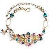 Rolicia Austrian Crystal Made with Swarovski Elements Color full drill peacock Bracelet For Women (17 cm length + 4 cm extender)