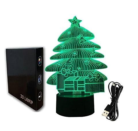 Illusion 3D jawell Lampe Nuit Lumière arbres de Noël 7couleurs à langer Touch USB Table joli cadeau Jouets Décorations