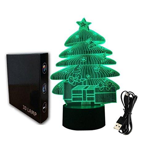 3d ilusión lámpara luz nocturna jawell árboles de Navidad 7colores cambiantes Touch...