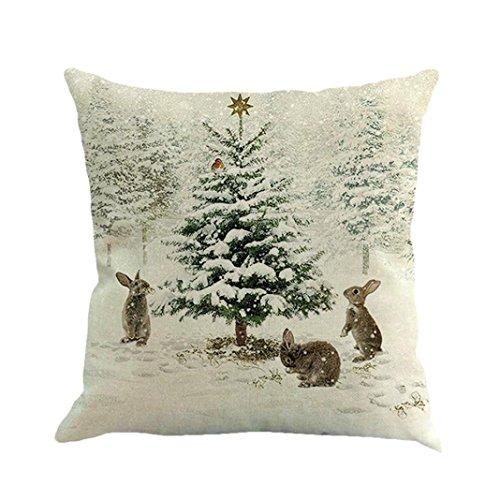 Federe di lino,kword natale pupazzo di neve, alci, coniglio stampa tintura divano letto casa decor cuscino copertina (e)