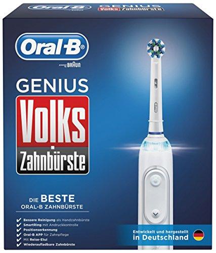 Oral-B Volks-Zahnbürste Genius Elektrische Zahnbürste, mit SmartRing und vier Aufsteckbürsten, weiß