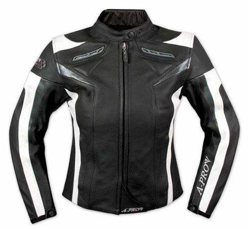 A-Pro Lederjacke Damen Motorrad Racing All Season Protektoren Rindsleder Schwarz XS (Damen Leder-motorrad-jacke)