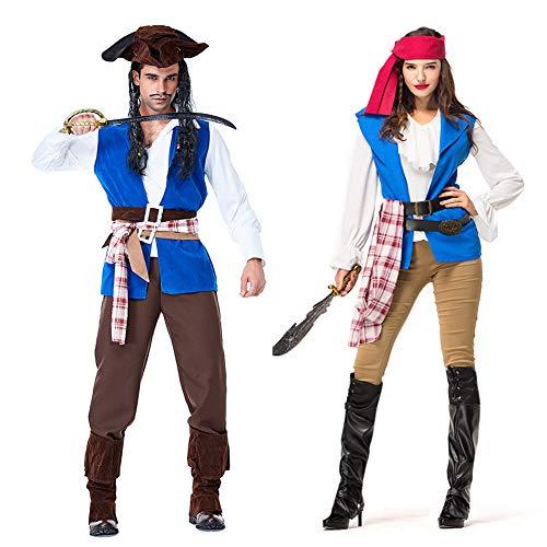 Costumi di halloween - uomo adulto donna coppia vestito da capitano pirata per abiti da festa in maschera cosplay (m-xl)