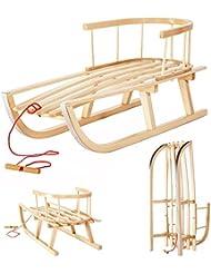 Traineau en bois en bois de hêtre avec dossier et corde pour les enfants Luge pour enfants